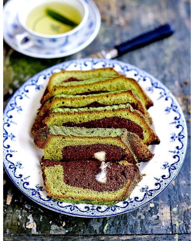 Cuisine Marbre Vert : Marbré thé vert et chocolat blanc pour personnes