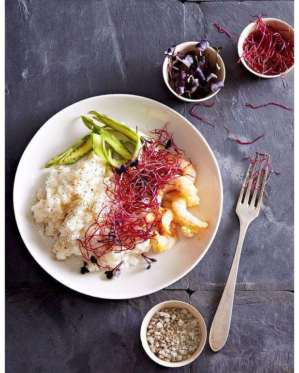risotto asperges crevettes et graines germ es pour 4 personnes recettes elle table. Black Bedroom Furniture Sets. Home Design Ideas