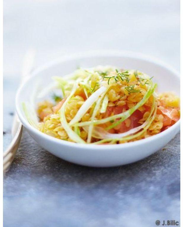 salade de lentilles corail de fenouil de saumon et d 39 oignon l 39 aneth pour 6 personnes. Black Bedroom Furniture Sets. Home Design Ideas