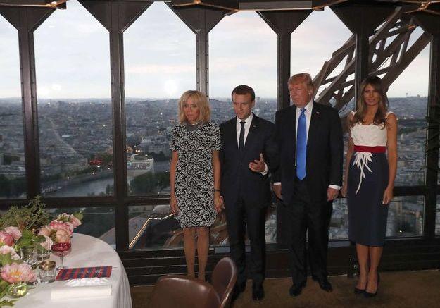 Brigitte et Emmanuel Macron et Donald et Melania Trump
