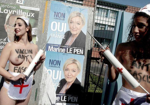 Des militantes femen manifestent h nin beaumont elle for Le bureau henin beaumont