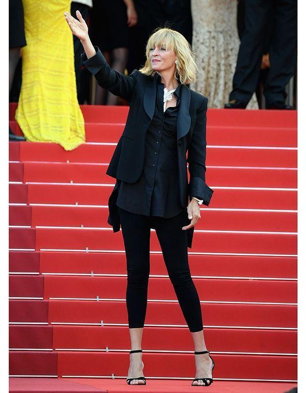 Le look du jour de Cannes : le masculin/féminin d'Uma Thurman