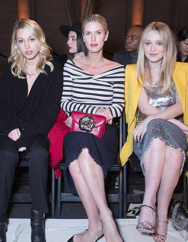 La princesse Maria Olympia, Nicky Hilton et Dakota Fanning au défilé Oscar de la Renta