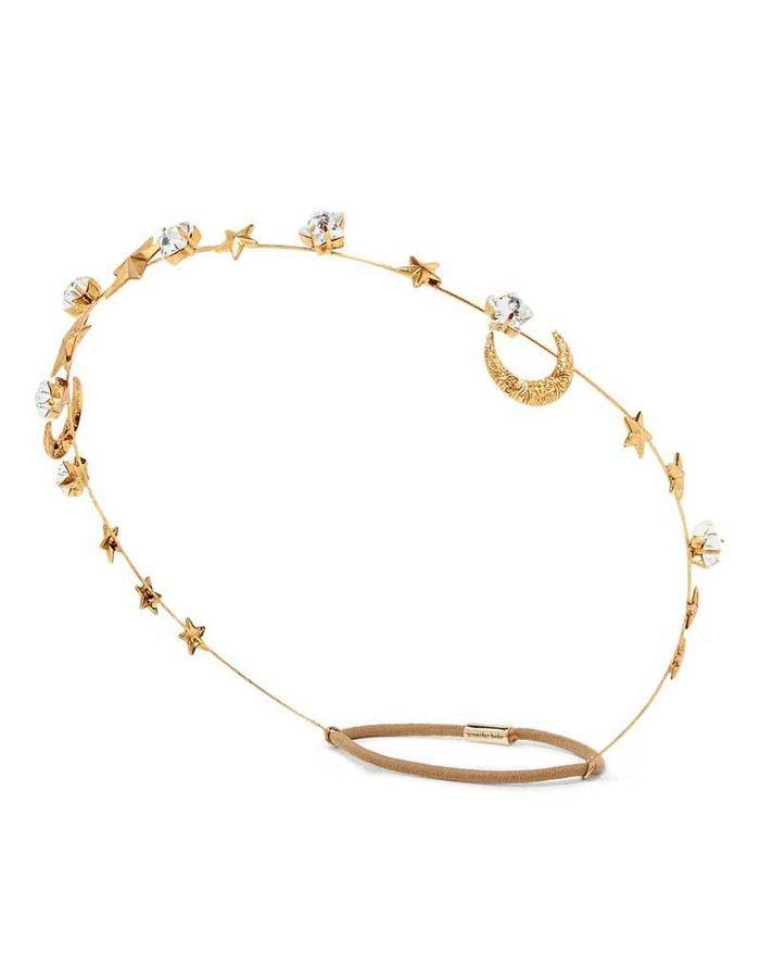 Serre-tête en plaqué or et cristaux Swarovsk, Jennifer Behr, 252,90 €