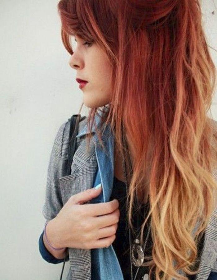 Coloration blond sur cheveux rouge