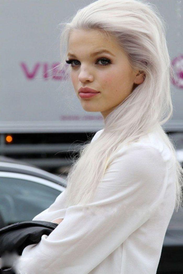 cheveux longs et blancs 25 jolies fa ons de porter les cheveux blancs elle. Black Bedroom Furniture Sets. Home Design Ideas