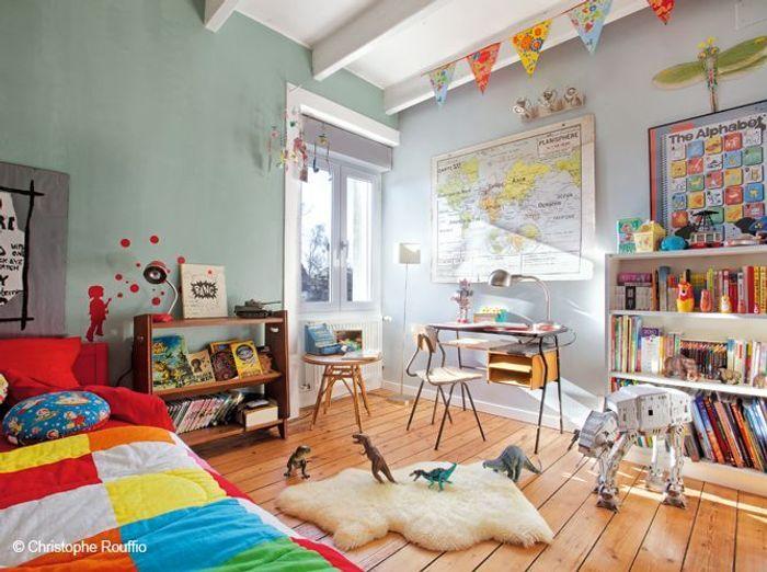 Ambiance sixties pour cette chambre d'enfants