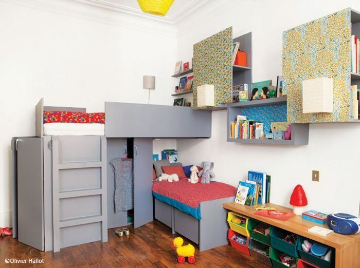 chambre enfant nos bonnes id es pour gagner de la place elle d coration. Black Bedroom Furniture Sets. Home Design Ideas