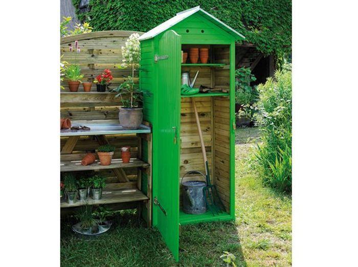 Abri de jardin vert bois jardipolys