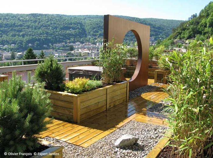 Avant apr s une terrasse zen en plein jura elle d coration for Decoration terrasse jardin