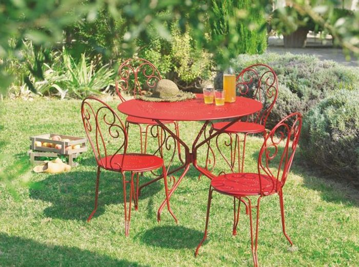 table chaises fer forge rouge jardiland - Chaise Jardin Colore