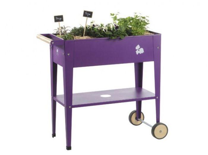Potager urbain à roulettes violet