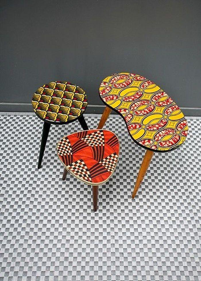 Des tables recouvertes de tissu wax