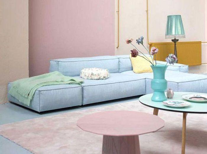 Salon tendance rose et bleu