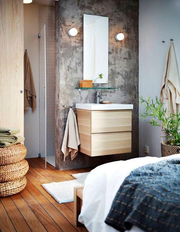 15 salles de bains grises elle dcoration - Salle De Bain Bois Et Gris