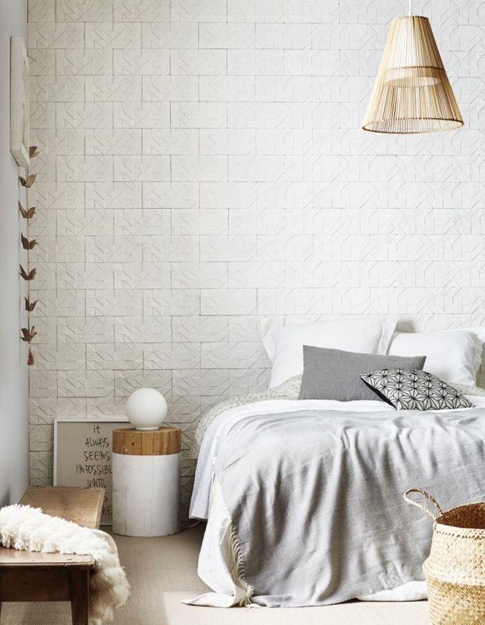 une chambre blanche rythm e par du papier peint trompe l il la chambre blanche en 20 fa ons. Black Bedroom Furniture Sets. Home Design Ideas