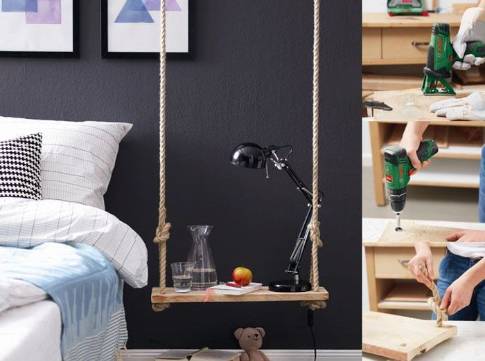 diy une table de chevet qui swingue elle d coration. Black Bedroom Furniture Sets. Home Design Ideas