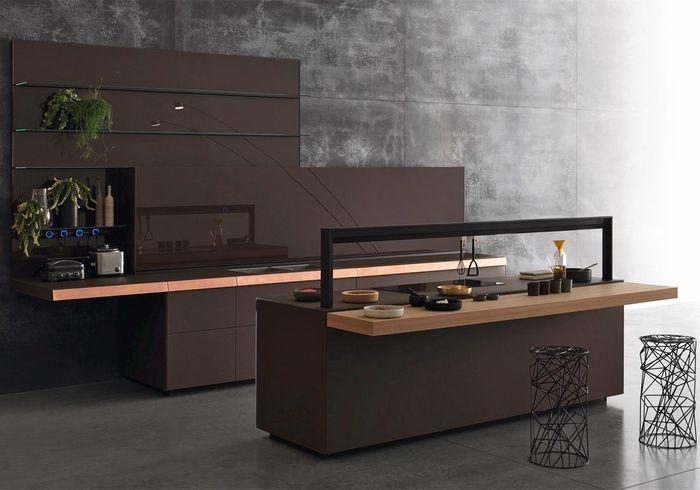 Une cuisine bois et noir asymétrique