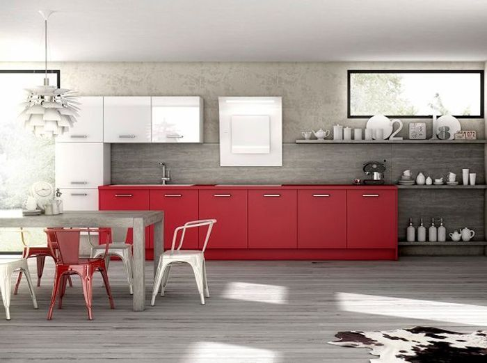 top une cuisine grise effet bton with faience rouge cuisine. Black Bedroom Furniture Sets. Home Design Ideas