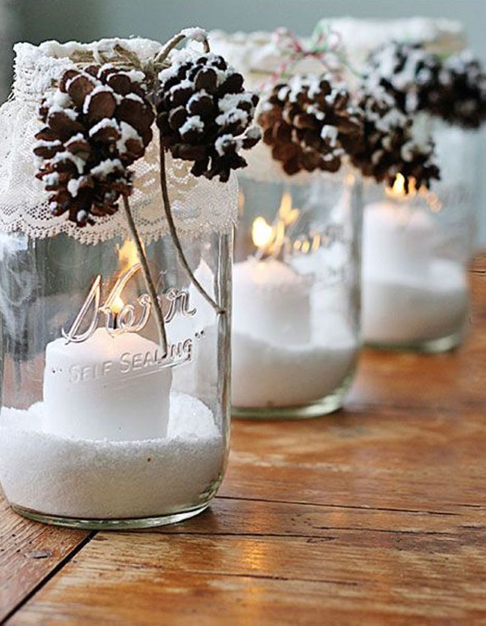 Décoration de table hiver : pensez des bocaux comme des boules à neige lumineuses