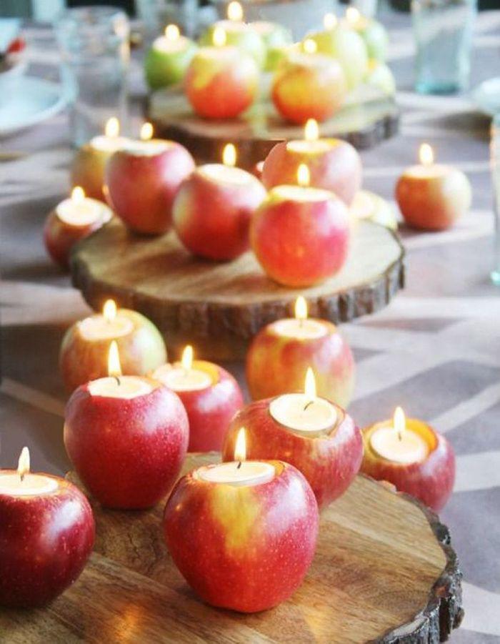 Décoration de table hiver : twistez des pommes en bougies