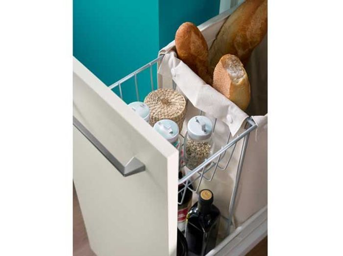 Des placards de cuisine pour le panier à pain