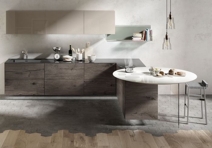 Une cuisine design avec une table comme en suspension