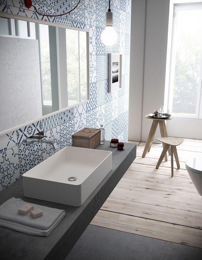 Salle de bains bleue Hi-Macs