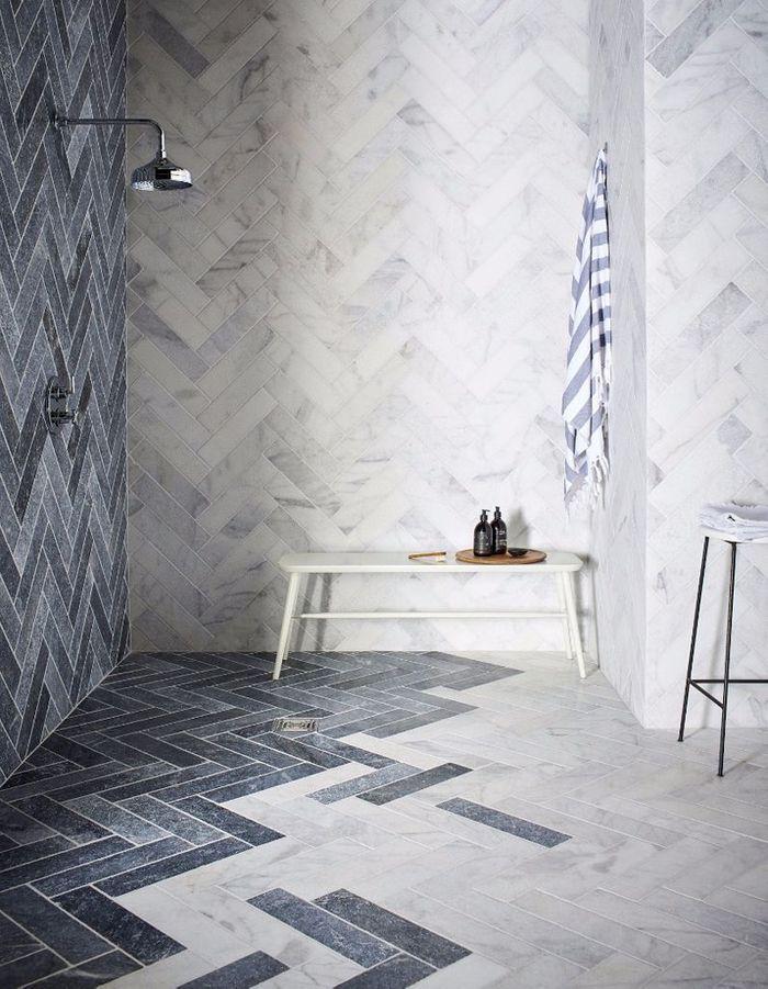 Salle de bains bleue Mandarinstone.com