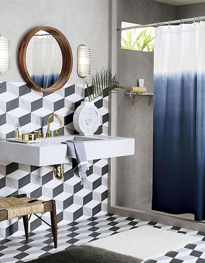 Rideau de douche 15 rideaux de douche pour une salle de for Elle deco salle de bain