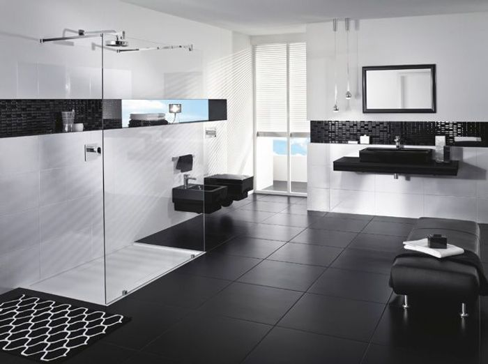 la salle de bains s'habille en noir et blanc - elle décoration - Image Salle De Bain Noir Et Blanc