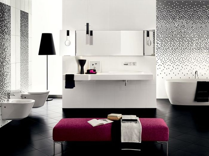 decoration salle de bain noir et blanc. Black Bedroom Furniture Sets. Home Design Ideas
