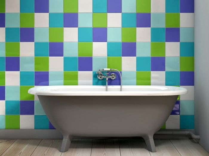 carrelage colore salle de bain like a color - Salle De Bain Enfant Coloree