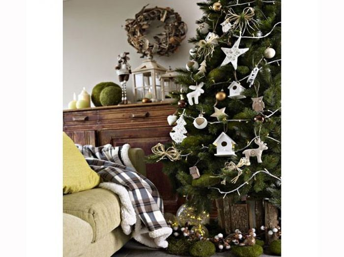 deco sapin de noel blanc et or. Black Bedroom Furniture Sets. Home Design Ideas
