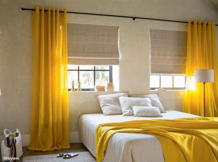 rideaux jaunes heytens - Rideaux Salon