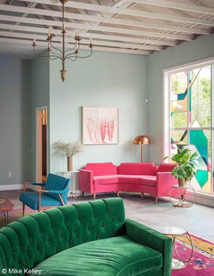 Salon rose et vert