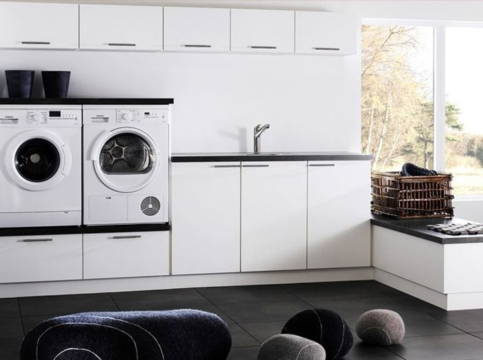 14 buanderies aussi pratiques que jolies elle d coration - Machine a laver petite dimension ...