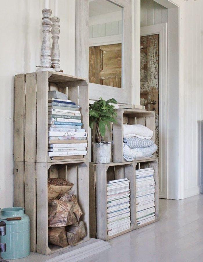 Des cagettes en bois version bibliothèque