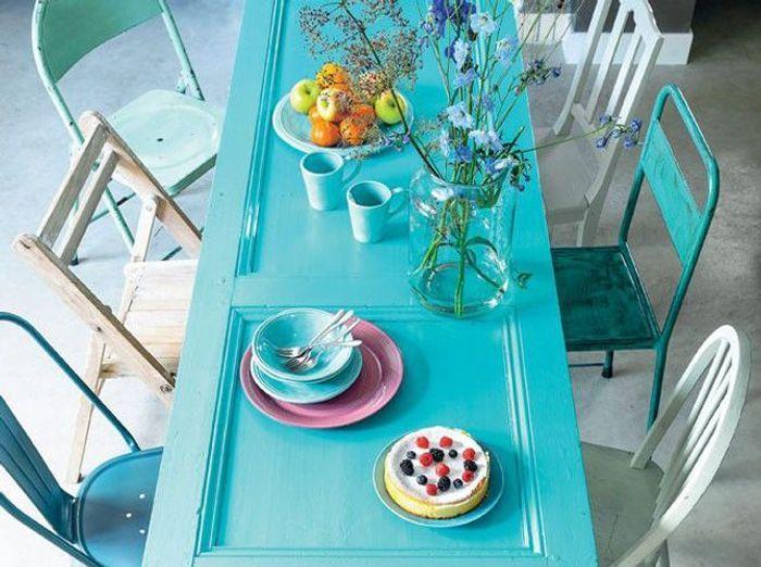 Table bleu turquoise castorama