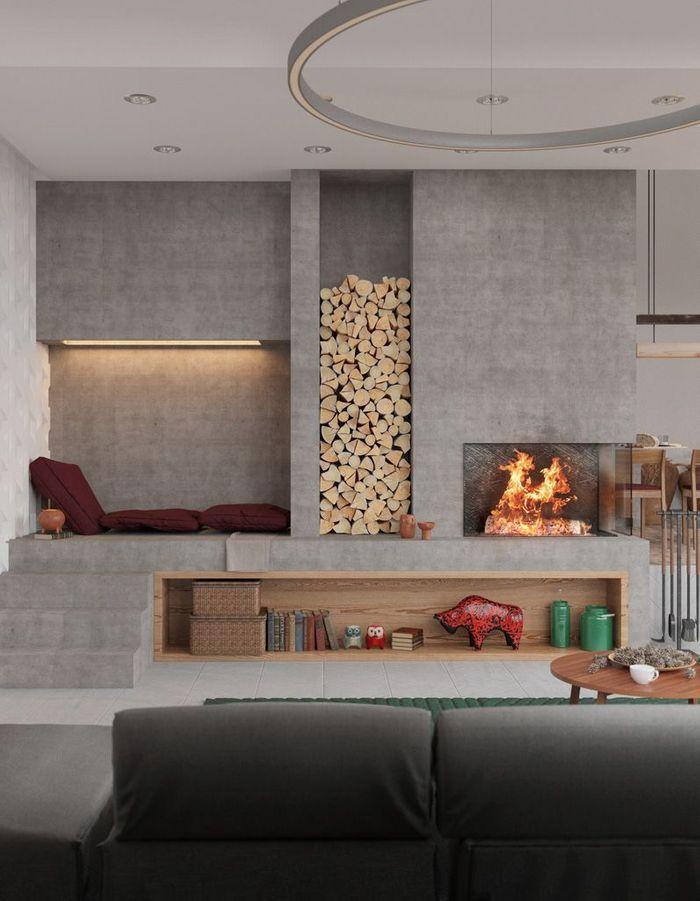 Une cheminée moderne comme les murs