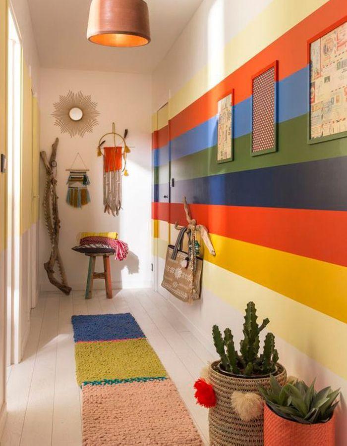 peindre son couloir en couleur l astuce d co parfaite pour looker son int rieur elle d coration. Black Bedroom Furniture Sets. Home Design Ideas