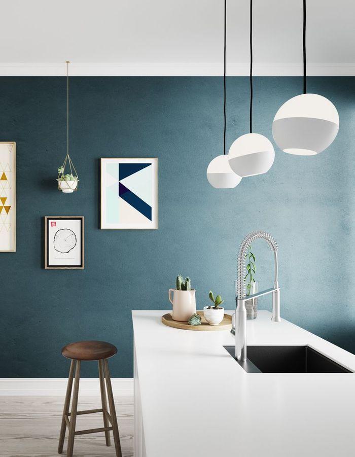 Peinture 15 id es pour personnaliser son int rieur for Cuisine avec mur bleu canard