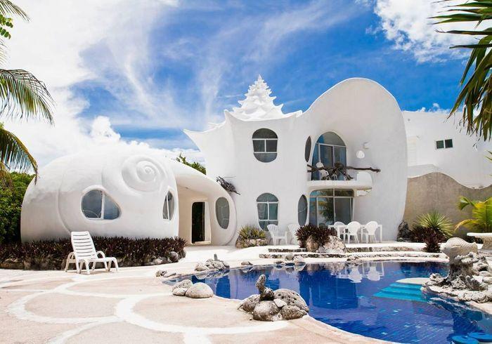 Une maison comme un coquillage à Isla Mujeres (Mexique)