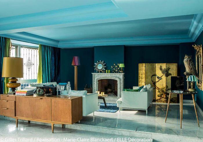 peindre murs en bleu et vert dans appartement sympa l