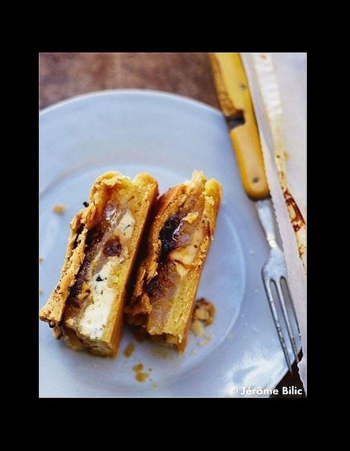 Tourte de fromages poires et oignons