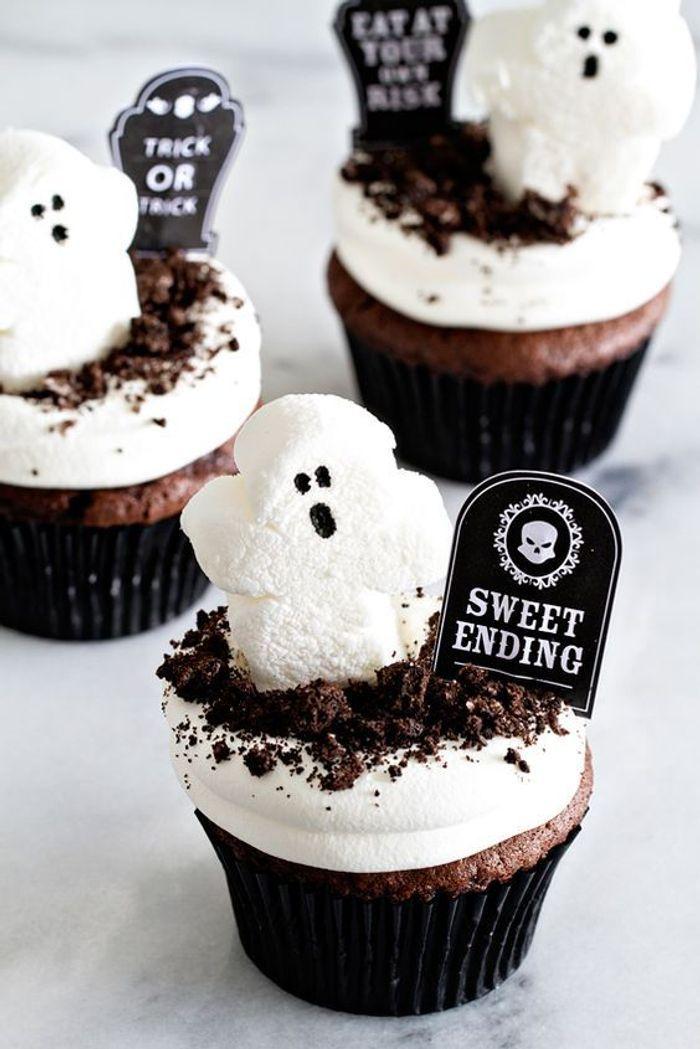 Cupcakes Halloween au chocolat et guimauve