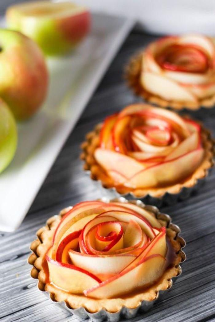 tartelettes fleur pomme caramel - quel pique-nique pour les