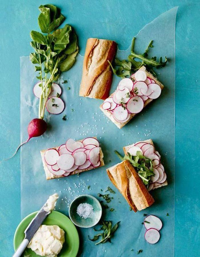 Idées de tartines aux petits légumes de printemps