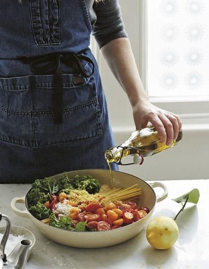 Pâtes tout-en-un tomates, kale et citron