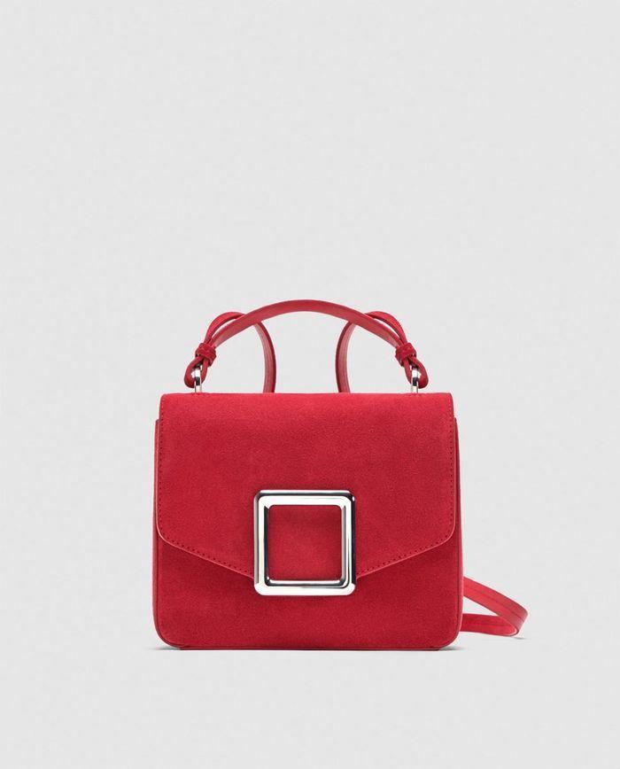 Sac façon daim rouge Zara